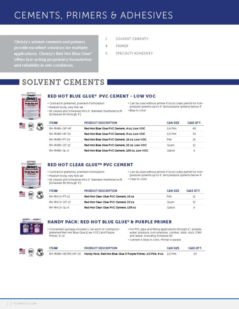 Cements, Primers & Adhesives